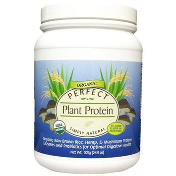 Perfect Plant Protein Simply Natural with No Flavor or Sweeteners - Organic Raw Brown Rice, Hemp & Mushrooms Protein Powder - Net wt. 24.9 oz.