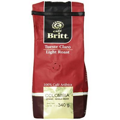 Cafe Britt Colombia Light Roast Whole Bean, 12 Ounce