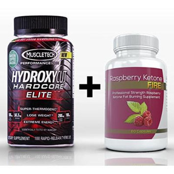 Hydroxycut Hardcore Elite (100 Capsules) & Raspberry Ketone Fire (60 Capsules) - Synergistic Weight Loss Combination for Accelerated Body Fat Reduction