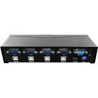 AWA Technology ROCKSOUL KA-04PUMVW52 Auto 4-Port KVM Switch, PS/2 and USB, Black