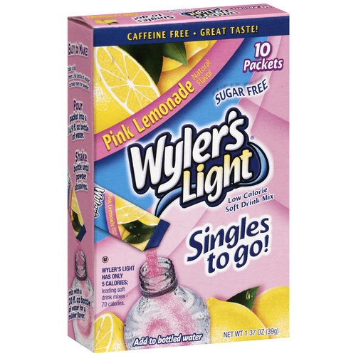 Wyler's Light Singles To Go Pink Lemonade Soft Drink Mix, 10ct
