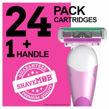 Shavemob ShaveMob Women's 4 Blade Shaving Razor Kit - 24 Cartridges & 1 Handle, 1 set