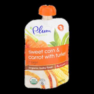 Plum Organics Baby Food Sweet Corn & Carrot with Turkey + Sage Stage 3