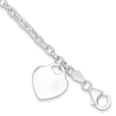 Recaro North goldia Sterling Silver 8.5 Inch Heart Charm Bracelet