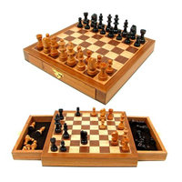 Trademark Games Elegant Inlaid Wood Chess Cabinet w/ Staunton Wood Chessmen, Ages 7+, 1 ea