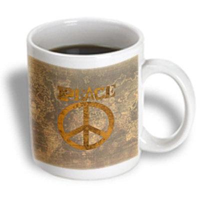 Recaro North 3dRose - Patricia Sanders Creations - Vintage Gold Brown World Peace Map- Inspiratinal Art - 15 oz mug