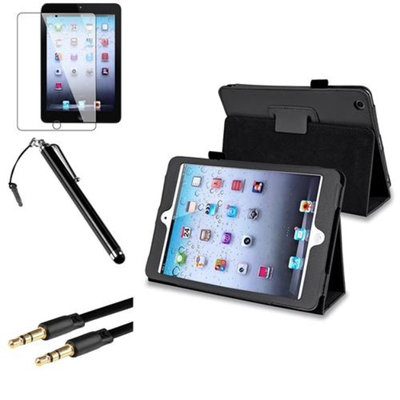 Insten iPad Mini 3/2/1 Case, by INSTEN Black Leather Case Stand Cover+LCD+Pen+Cable for iPad Mini 3 2 1