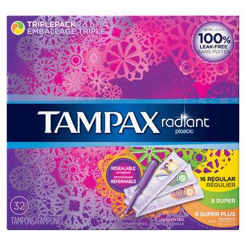 Tampax Radiant Plastic Triplepack (Regular/Super/Super+) Absorbency Tampons