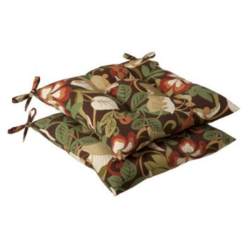 Pillow Perfect Outdoor 2-Piece Tufted Chair Cushion Set - Brown/Green Floral