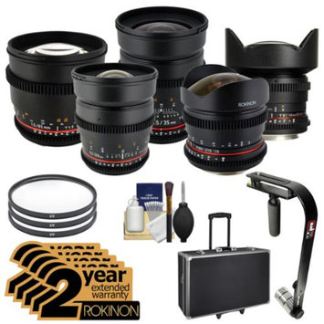 Rokinon Cine Lens Bundle with 8mm, 14mm, 24mm, 35mm, 85mm Lenses (for Nikon DSLR Video) + 2 Year Ext Warranties + Hard Case + Steadycam + Filters Kit