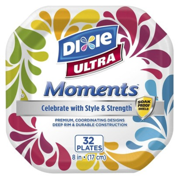 Dixie Ultra Moments Square Printed Disposable Paper Plates