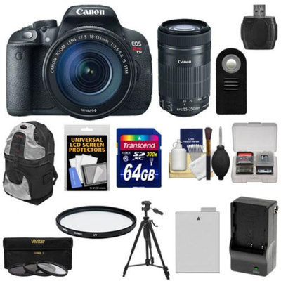 Canon EOS Rebel T5i Digital SLR Camera & EF-S 18-135mm & 55-250mm IS STM Lens with 64GB Card + Battery + Backpack + 3 Filters Kit