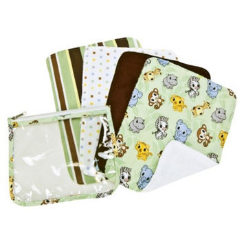 Trend Lab 5 Pc. Burp Cloths and Pouch Set -Chibi Zoo by Lab