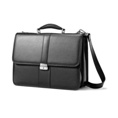 Samsonite Leather Business Cases Flapover Briefcase - Black