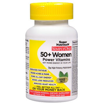 Super Nutrition SimplyOne 50+ Women Multivitamin-Mineral Dietary Supplement Tablets