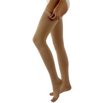 Sigvaris 500 Natural Rubber 40-50 mmHg Open Toe Unisex Thigh High Sock with Grip-Top Size: L2