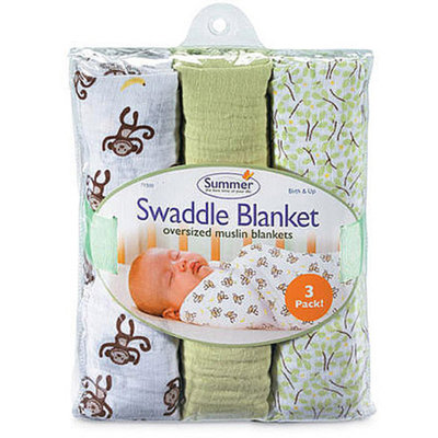 Summer Infant Swaddleme Muslin Blanket 3 Pk, 3 Pk, Go Bananas, 1 ea