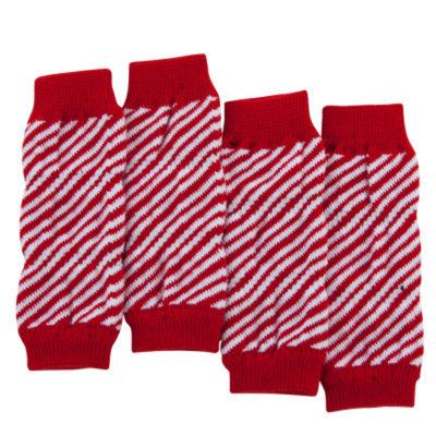 Top PawA Pet HolidayTM Candycane Stripe Leg Warmers