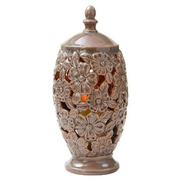 Lion Sports Candle TEK Unscented Ceramic Floral Vase with Flameless Candle -