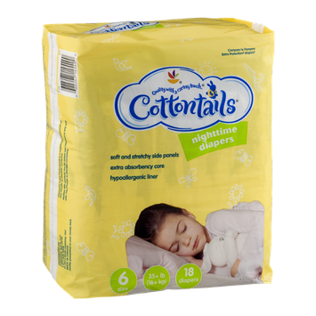 Cottontails Nighttime Diapers Size 6 - 18 CT