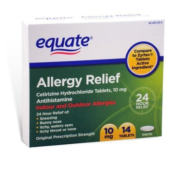 Equate - Allergy Cetirizine 10 mg, 14 Tablets (Compare to Zyrtec)