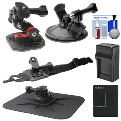 Vivitar Essentials Bundle for GoPro HD HERO 3 Action Camcorder with Curved Helmet, Arm & Car Mounts + Battery + Charger + Accessory Kit
