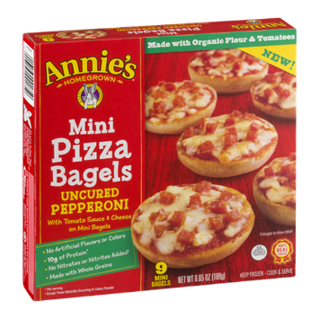Annie's Homegrown Mini Pizza Bagels Uncured Pepperoni - 9 CT