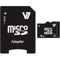 V7 4GB microSDHC Class 4/Adapter, 2-Pack