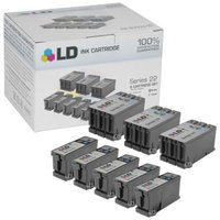LD © Compatible Set of 8 (Series 22) High Yield Black & Color Ink Cartridges for the Dell P513, V313 Printers: 5 Black T091N, 3 Color T092N