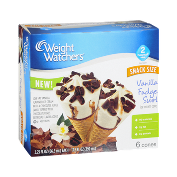 Weight Watchers Ice Cream Cone Vanilla Fudge Swirl - 6 CT