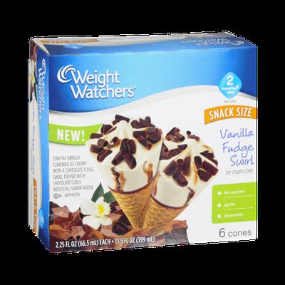 Weight Watchers Ice Cream Cone Vanilla Fudge Swirl - 6 CT
