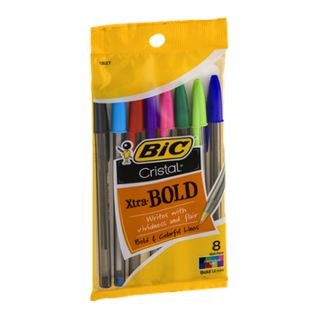 BIC Cristal Xtra-Bold Ball Pens 1.6 mm Assorted - 8 CT