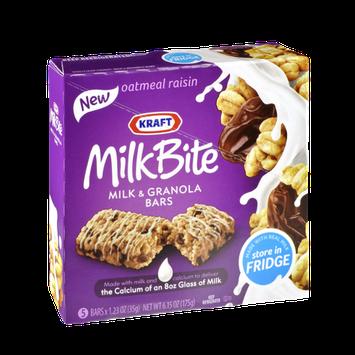 Kraft MilkBite Oatmeal Raisin Milk & Granola Bars - 5 CT