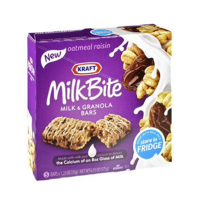 Kraft MilkBite Oatmeal Raisin Milk & Granola Bars - 5 CT