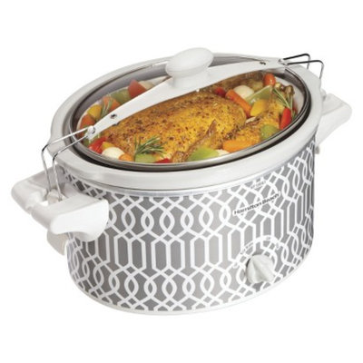 Hamilton Beach Grey/White 4 Qt. Trellis Slow Cooker