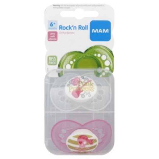 Mam MAM Pacifiers, Orthodontic, Rock'n Roll, 6+ Months, 2 pacifiers