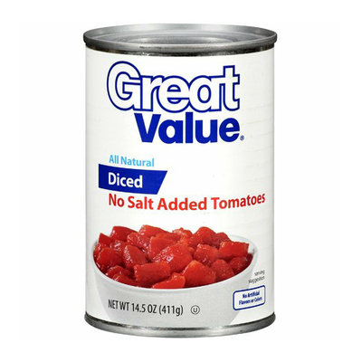 Great Value : Diced No Salt Added Tomatoes