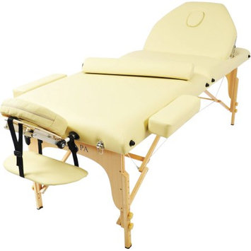 Auwit Professional Portable 3 Foam Folding White Massage Table w/Adjustable Legs/Back