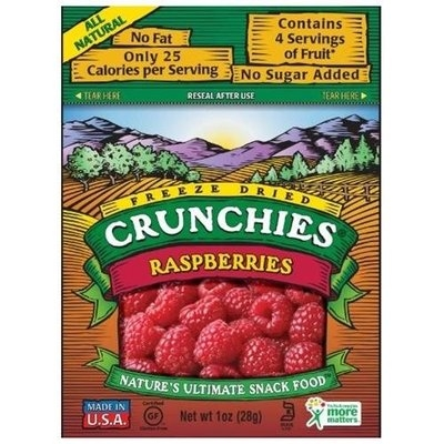 Crunchies Freeze-Dried Raspberries, 1-Ounce Pouches (Pack of 6)
