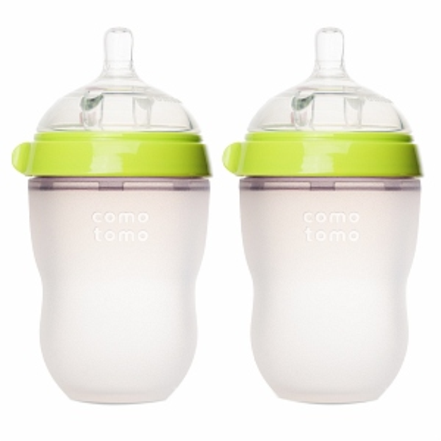 Comotomo Inc Comotomo Natural Feel 8 oz Baby Bottle- Double Pack - Green