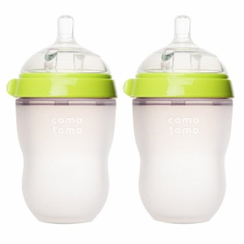 Comotomo Inc Comotomo Natural Feel 8 oz Baby Bottle- Double Pack - Green