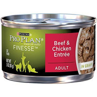 Purina Pro Plan Wet Cat Food, Finesse, Adult Beef and Chicken Entrée, 3-Ounce Can, Pack of 24