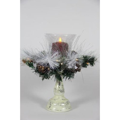 Delighted Home DH-SLCSR Small Lighted Christmas Stand with 5 in. Red Pillar