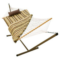 Algoma Net Company Outdoor Hammock and Stand Set - Beige/Brown/Off-White Stripe