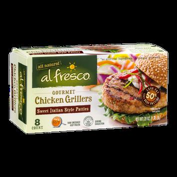 Al Fresco Gourmet Chicken Grillers Patties Sweet Italian Style - 8 CT
