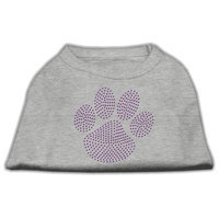 Mirage Pet Products 5259 LGGY Purple Paw Rhinestud Shirts Grey L 14