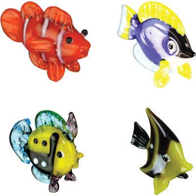 BrainStorm Looking Glass Miniature Glass Figurines, 4-Pack, Clown Fish/Tang Fish/Reef Fish/Idol Fish