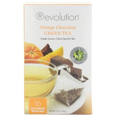 Revolution Tea Orange Chocolate Green Tea, 16-Count Teabags (Pack of 6)