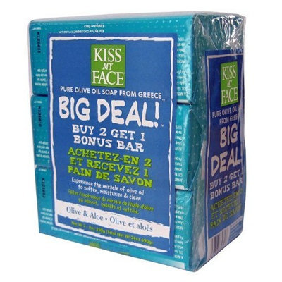 Kiss My Face Big Deal Multipack Bar Soap, Olive and Aloe Olive Oil
