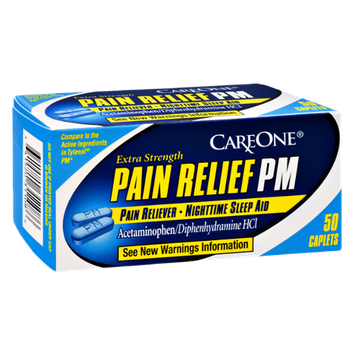 CareOne Pain Relief PM Pain Reliever- Nighttime Sleep Aid - 50 CT